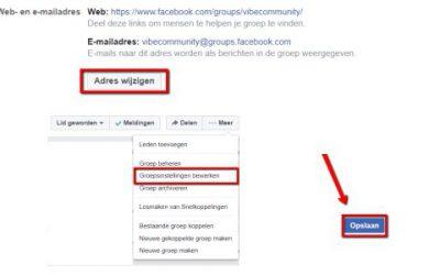 Facebook webadres van groep veranderen