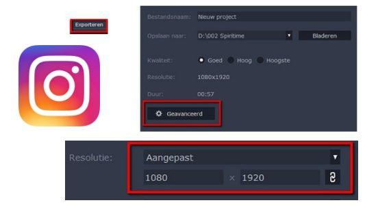 Video formaat aanpassen voor IGTV van Instagram via Movavi